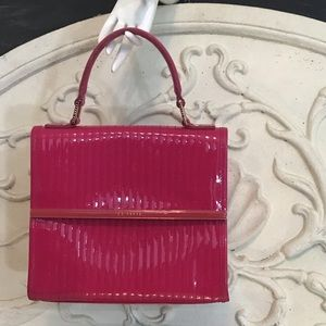 Ted Baker Pink  Suno Quilted Enamel Mini Tote Bag
